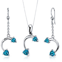 Lovely 2.25 carats Heart Shape Sterling Silver London Blue Topaz Pendant Earrings Set Style SS3734