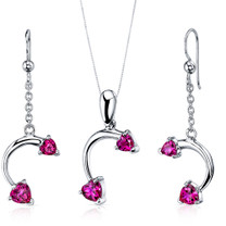 Love Duet 2.25 carats Heart Shape Sterling Silver Ruby Pendant Earrings Set Style SS3736