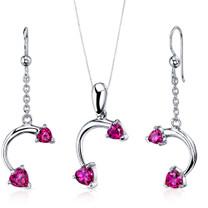 Love Duet 2.25 carats Heart Shape Sterling Silver Ruby Pendant Earrings Set Style SS3736