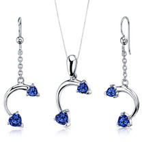 Love Duet 2.25 carats Heart Shape Sterling Silver Sapphire Pendant Earrings Set Style SS3738