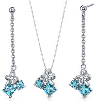 Butterfly Design 3.00 carats Sterling Silver Swiss Blue Topaz Pendant Earrings Set Style SS3746