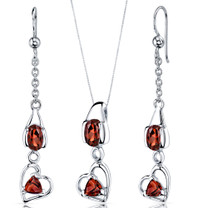 Heart Design 2.25 carats Sterling Silver Garnet Pendant Earrings Set Style SS3756
