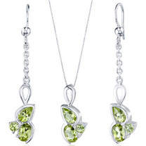 3 Stone Design 3.75 carats Sterling Silver Peridot Pendant Earrings Set Style SS3800