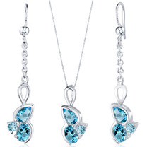 3 Stone Design 3.75 carats Sterling Silver Swiss Blue Topaz Pendant Earrings Set Style SS3802