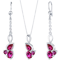 3 Stone Design 3.00 carats Sterling Silver Ruby Pendant Earrings Set Style SS3806