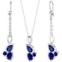 3 Stone Design 3.75 carats Sterling Silver Sapphire Pendant Earrings Set Style SS3808