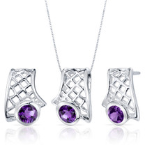 Exotic Design 1.50 carats Round Cut Sterling Silver Amethyst Pendant Earrings Set Style SS3824