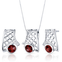 Exotic Design 2.25 carats Round Cut Sterling Silver Garnet Pendant Earrings Set Style SS3826