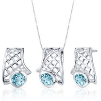 Exotic Design 1.50 carats Round Cut Sterling Silver Swiss Blue Topaz Pendant Earrings Set Style SS3830
