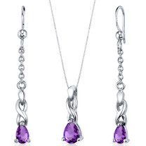 Enchanting Solitaire 1.00 carats Pear Shape Sterling Silver Amethyst Pendant Earrings Set Style SS3838