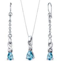 Enchanting 1.75 carats Pear Shape Sterling Silver Swiss Blue Topaz Pendant Earrings Set Style SS3844