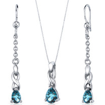 Enchanting 1.75 carats Pear Shape Sterling Silver London Blue Topaz Pendant Earrings Set Style SS3846
