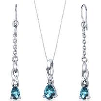 Enchanting 1.75 carats Pear Shape Sterling Silver London Blue Topaz Pendant Earrings Set Style SS3846