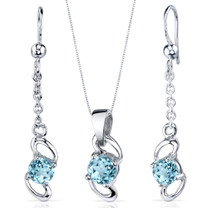 Elegantly Simple 1.75 carats Round Cut Sterling Silver Swiss Blue Topaz Pendant Earrings Set Style SS3886