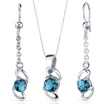 Elegantly Simple 2.00 carats Round Cut Sterling Silver London Blue Topaz Pendant Earrings Set Style SS3888