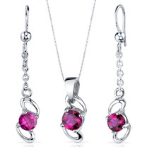 Elegantly Simple 2.50 carats Round Cut Sterling Silver Ruby Pendant Earrings Set Style SS3890