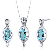 Simply Stunning 1.50 carats Marquise Cut Sterling Silver Swiss Blue Topaz Pendant Earrings Set Style SS3914
