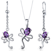 Dragonfly Design 1.75 carats Oval Cut Sterling Silver Amethyst Pendant Earrings Set Style SS3922