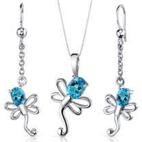 Dragonfly Design 1.75 carats Oval Cut Sterling Silver Swiss Blue Topaz Pendant Earrings Set Style SS3928