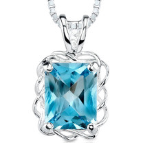2.50 Cts Radiant Cut Swiss Blue Topaz Pendant Style SP1882