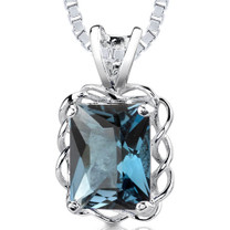 2.50 Cts Radiant Cut London Blue Topaz Pendant Style SP1884