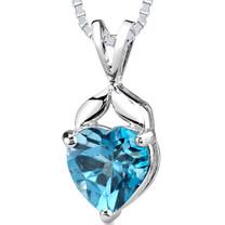 3.00 Cts Heart Shape London Blue Topaz Pendant Style SP1956