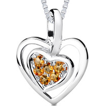 0.25Ct Round Cut Citrine Heart Pendant Style SP3238