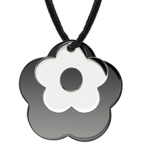 Surgical Stainless Steel with Black Enamel and Chrome Finish Flower Pendant on a Black Cord Style SN8022