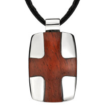Designer Style Stainless Steel High-polish Dog Tag with Redwood Cross Pendant on a Black Cord Style SN8104