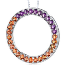 Sterling Silver 3.75 Carats Round Shape Padparascha Sapphire And Amethyst Circle Of Life Pendant Style SP8226