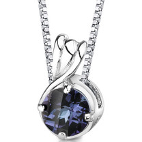 Sterling Silver Round Shape Cut Alexandrite Pendant Style SP8398