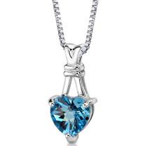 Sterling Silver 3.00 Carats Heart Shape Swiss Blue Topaz Pendant Style SP8584