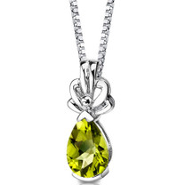 Sterling Silver 2.00 Carats Pear Shape Peridot Pendant Style SP8602