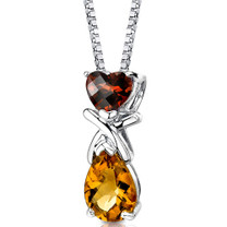 Sterling Silver 2.50 Carats Garnet And Citrine Pendant Style SP8610