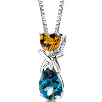 Sterling Silver 3.00 Carats Citrine And London Blue Topaz Pendant Style SP8616