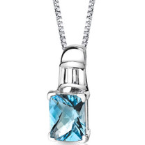 Sterling Silver 3.50 Carats Radiant Swiss Blue Topaz Pendant Style SP8688