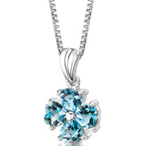 Sterling Silver 2.00 Carats Heart Shape Swiss Blue Topaz Pendant Style SP8720