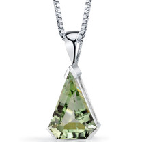 Chevron Cut 6.75 Carats Green Amethyst Sterling Silver Pendant And Style SP8810