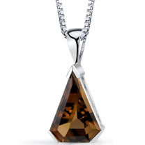 Chevron Cut 6.75 Carats Smoky Quartz Sterling Silver Pendant And Style SP8812