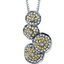 Sterling Silver Black Rhodium Plated Bubble Sterling Silver Pendant With Yellow CZ Style SP8826