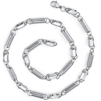 Manly Chic: Stainless Steel Unique Coiled Link Chain Necklace Style SN8946