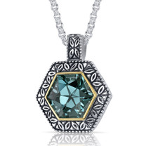 Hexagon Cut 8.25 Carat Green Spinel Sterling Silver Antique Style Pendant Style SP9056