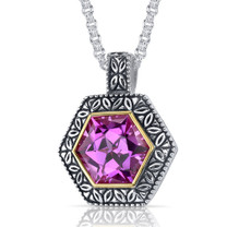 Hexagon Cut 10.00 Carat Pink Sapphire Sterling Silver Antique Style Pendant Style SP9058