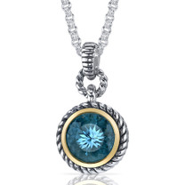 Portuguese Cut 4.50 Carat Swiss Blue Topaz Sterling Silver Twisted Cable Pendant Style SP9112