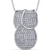 Flamboyant Overlapping Loops Of Dazzle Sterling Silver Micro Pave CZ Tri-Sectional Pendant Style SP9148