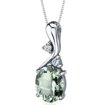 Illuminating Sophistication 2.25 Carats Oval Shape Sterling Silver Green Amethyst Pendant Style SP9218
