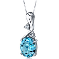 Illuminating Sophistication 3.00 Carats Oval Shape Sterling Silver Swiss Blue Topaz Pendant Style SP9220