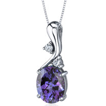 Illuminating Sophistication 3.50 Carats Oval Shape Sterling Silver Alexandrite Pendant Style SP9228
