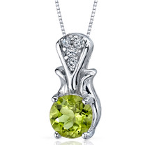 Regal Radiance 1.25 Carats Round Shape Sterling Silver Peridot Pendant Style SP9234
