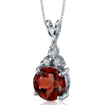 Refined Class 2.50 Carats Round Shape Sterling Silver Garnet Pendant Style SP9268
